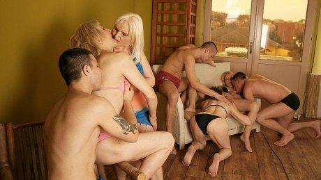 Eight mature women get eight hard cocks to munch on