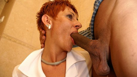 This old slut loves to get done on the toilet