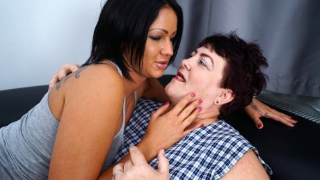 Hot and steamy old and young lesbian couple makeing out