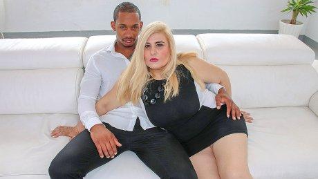 Big breasted mature slut sucking and fucking a hard black cock