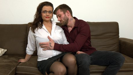 Curvy big breasted housewife fucking and sucking cock