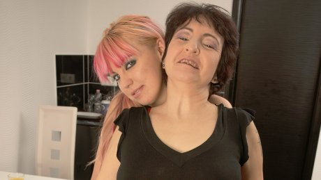 Two hot old and young lesbians eat each other's pussies