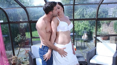 Horny British housewife sucking and fucking her ass off
