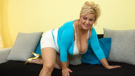 Big breasted curvy housewife playing by herself