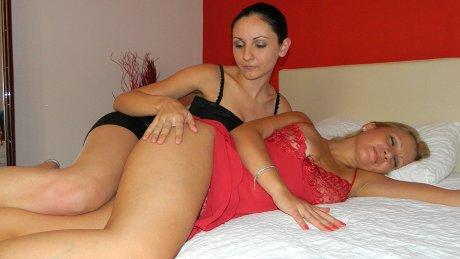 Horny MILF doing a hot lesbian babe